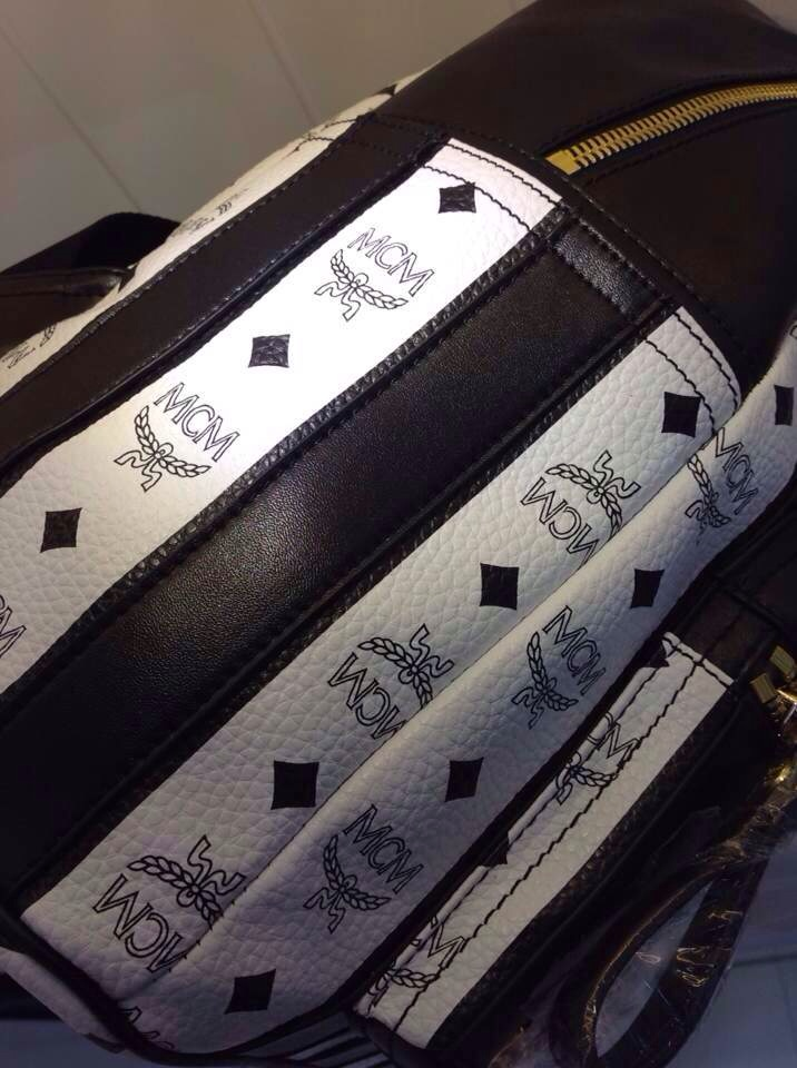 MCM爆款条纹包 双肩包 经典款女包 中号背包