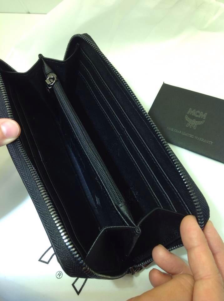 王菲款钱夹 MCM钢铁黑手包 原版真皮钱包 明星同款钱夹批发
