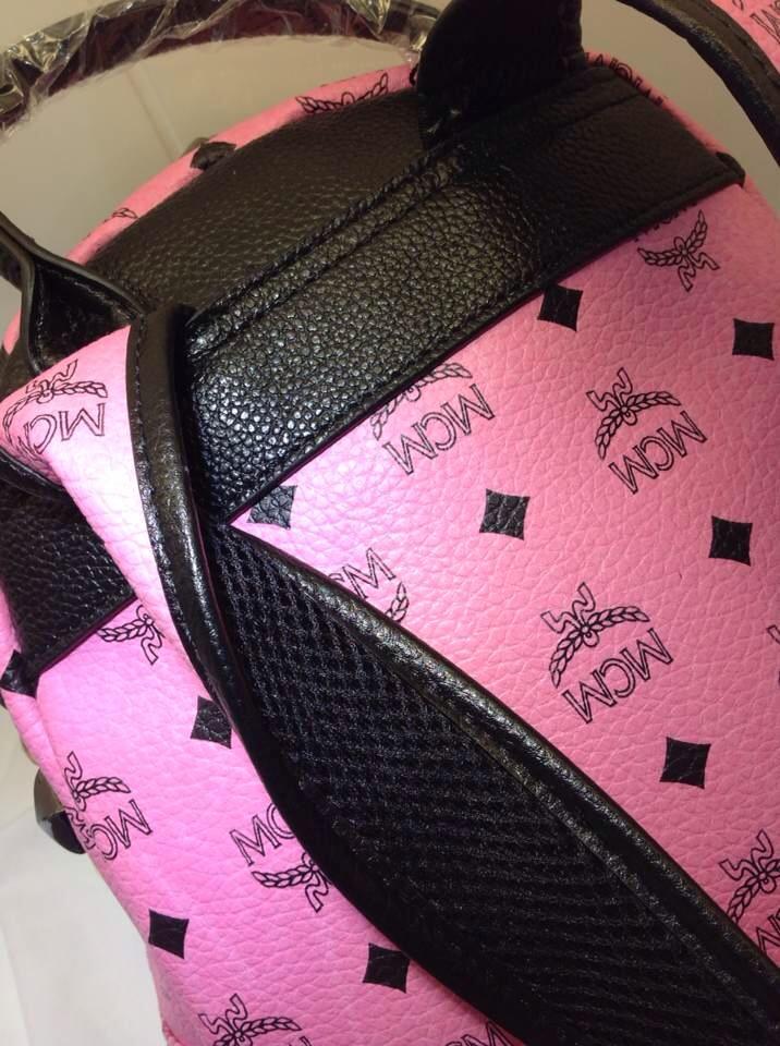 MCM正品品质 pvc背包 头层牛皮拉链头肩带 粉色女士双肩包