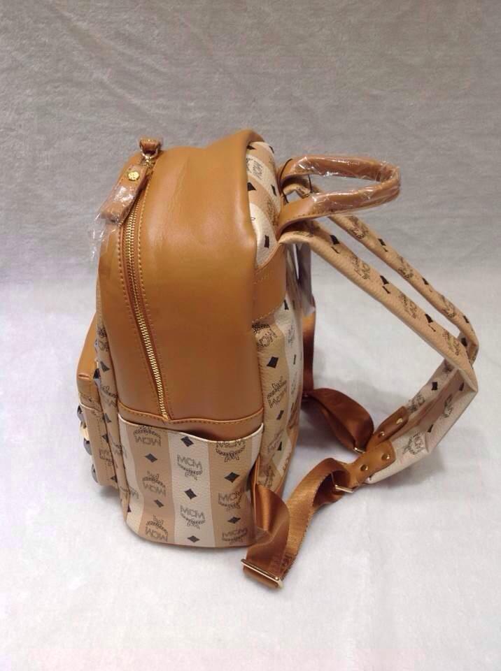 2015新款MCM背包 啡色顶级皮料 爆款经典包包 条纹双肩包