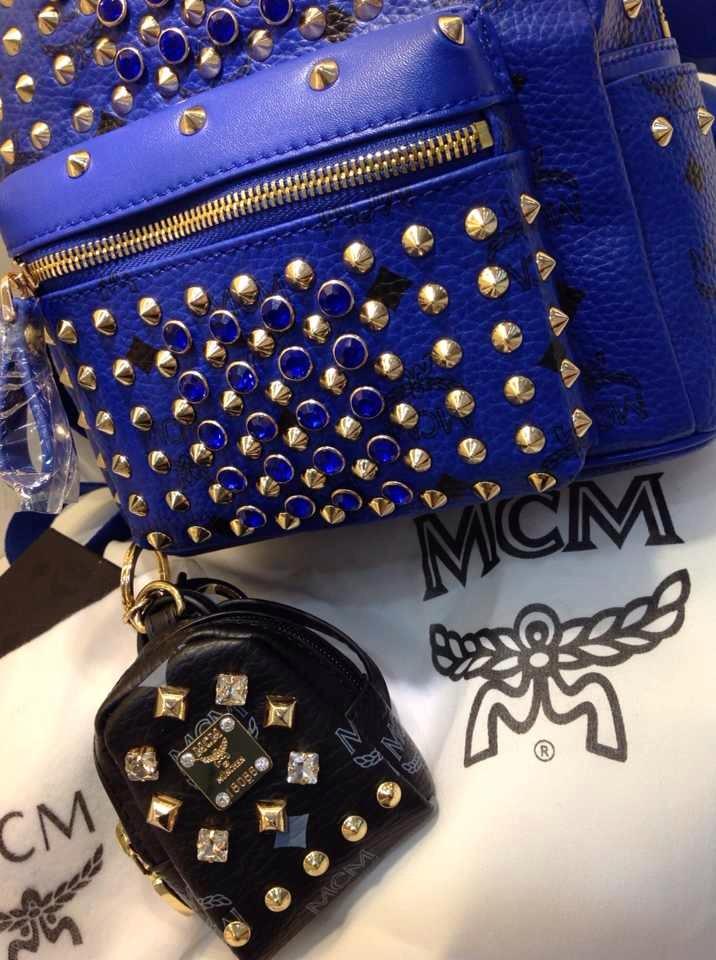 MCM官网 电光蓝双肩包 新款满钻 柳钉包包批发