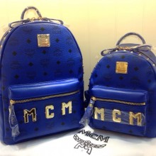 MCM官网 大号宝蓝色双肩包 大LOGO款包包