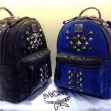 MCM专柜新款 黑色宝蓝色 包身pvc配头层牛皮拉链头肩带