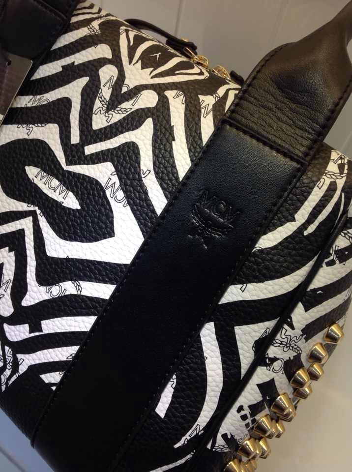 MCM官网 斑马单肩手提两用 专柜新款 斑马黑色