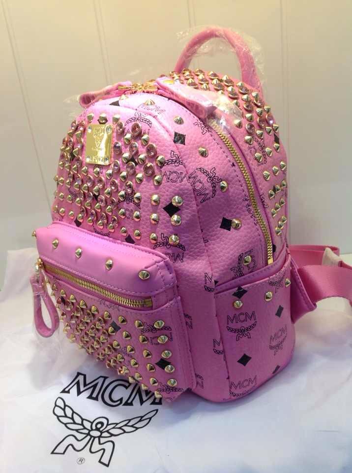 MCM同步新款 满钻双肩包 粉色土黄色白色