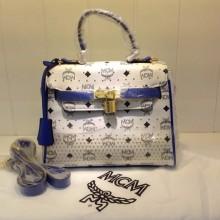 MCM专柜同款ketty包 白色包身配蓝色皮边 单肩包手提包