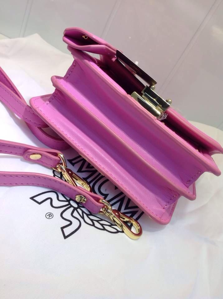 MCM新款超mini单肩包 3色 粉色 土黄色 蓝色拼白色