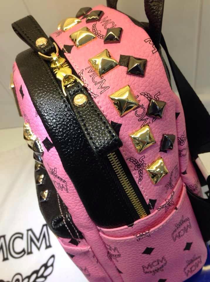 MCM专柜新款 粉色土黄色白色 包身pvc配头层牛皮拉链头