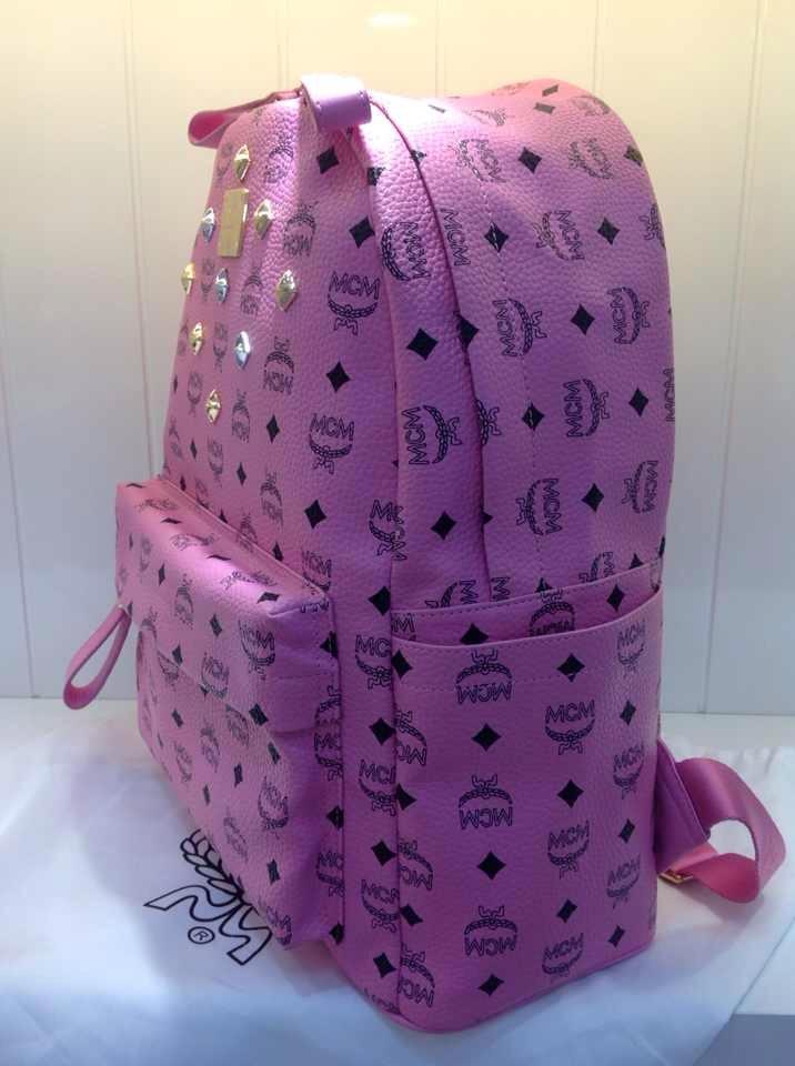 广州货源 MCM中号原版真皮双肩包 专柜同款 时尚潮人背包