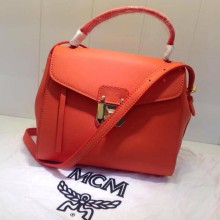 厂家直销 MCM原版头层牛皮 橙色新款 手提包单肩包批发