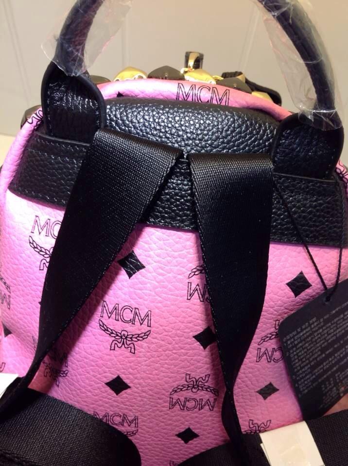 MCM小号专柜新款 包身pvc配头层牛皮拉链头肩带 土黄色粉色白色