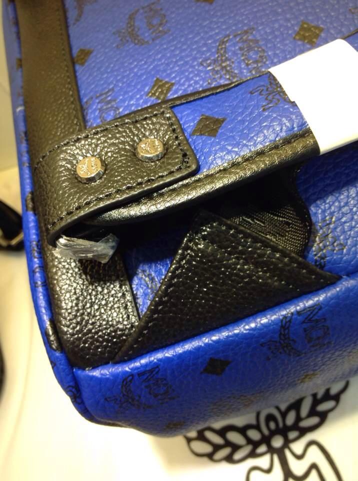 2015新款双肩包 MCM包身pvc 头层牛皮 蓝色黑色背包