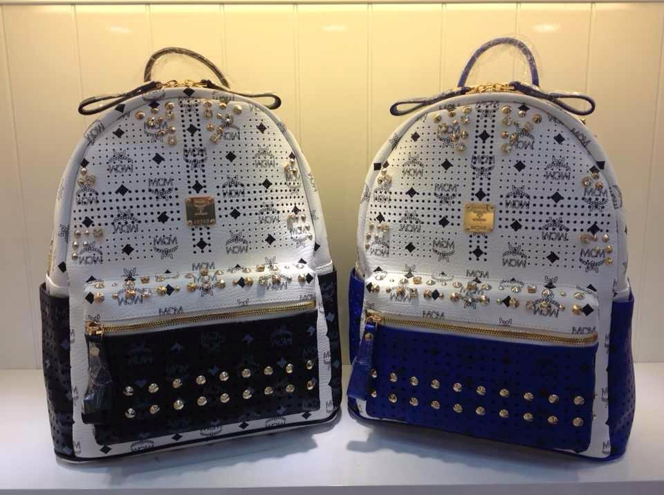 广州顶级货源 MCM拼色双肩包 镂空带钻款 7色
