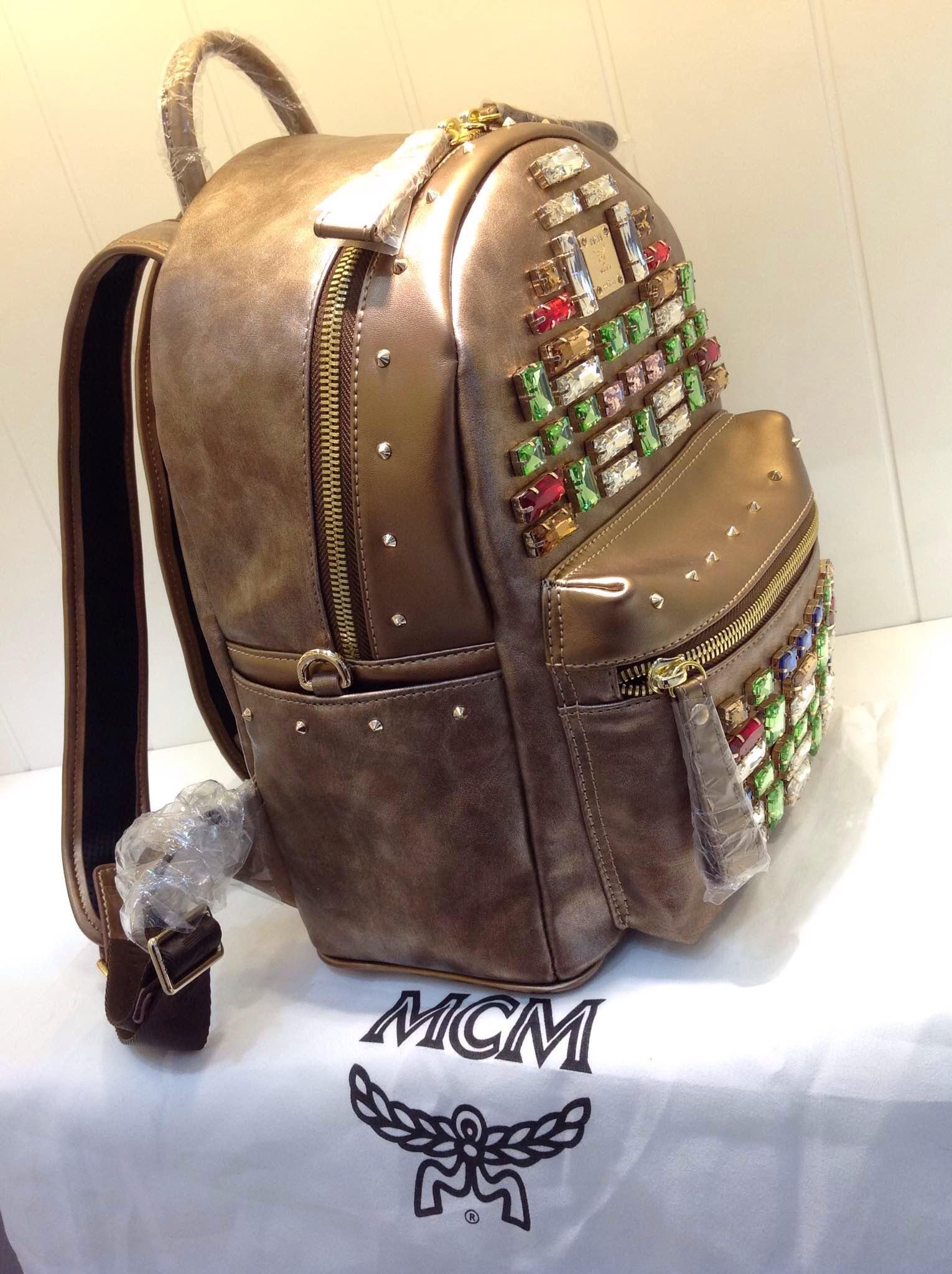 2015新款 MCM超炫方块钻 土豪金 双肩包