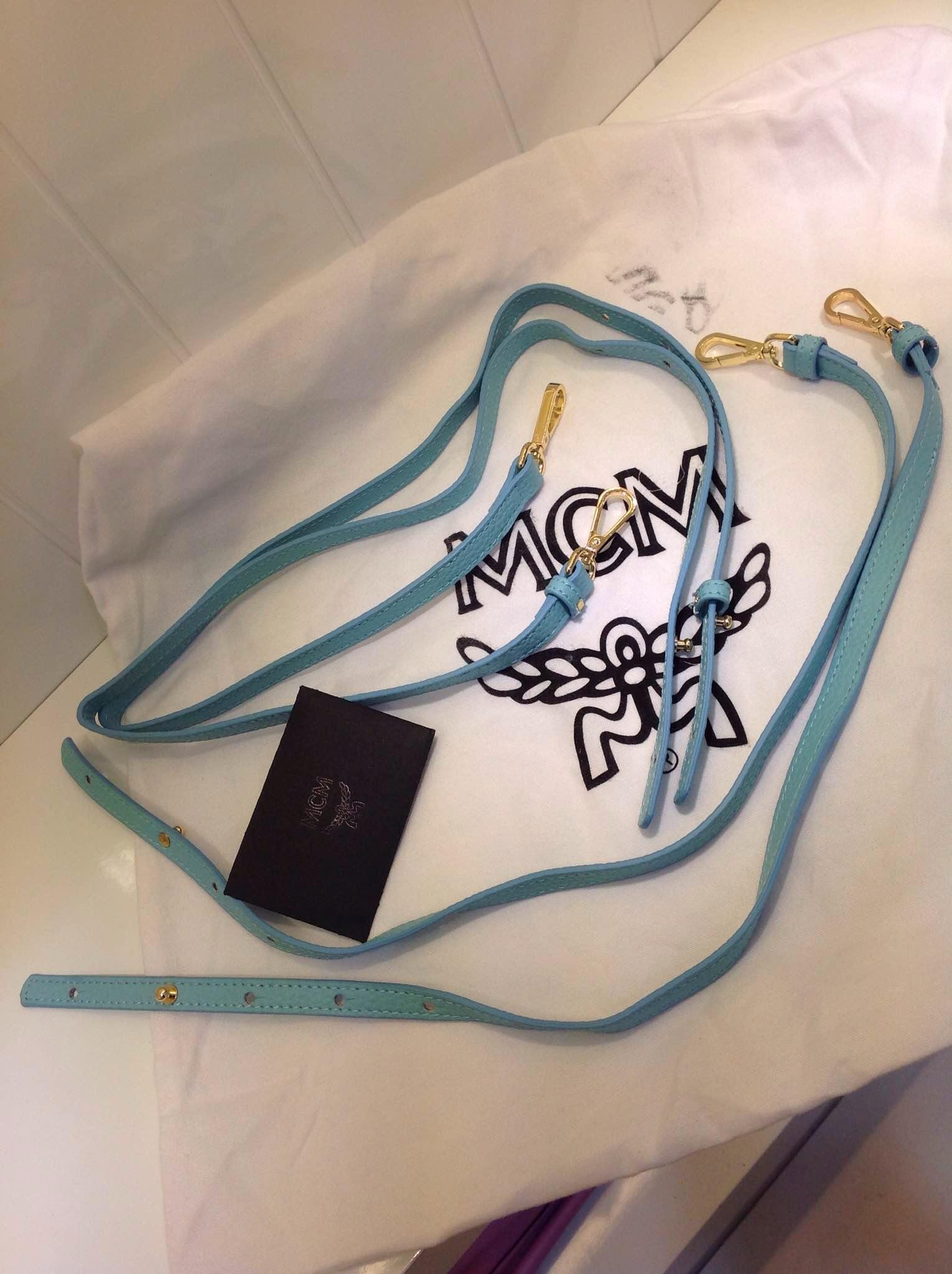 2015新款 MCM双肩包 斜挎包 湖水蓝 原版皮