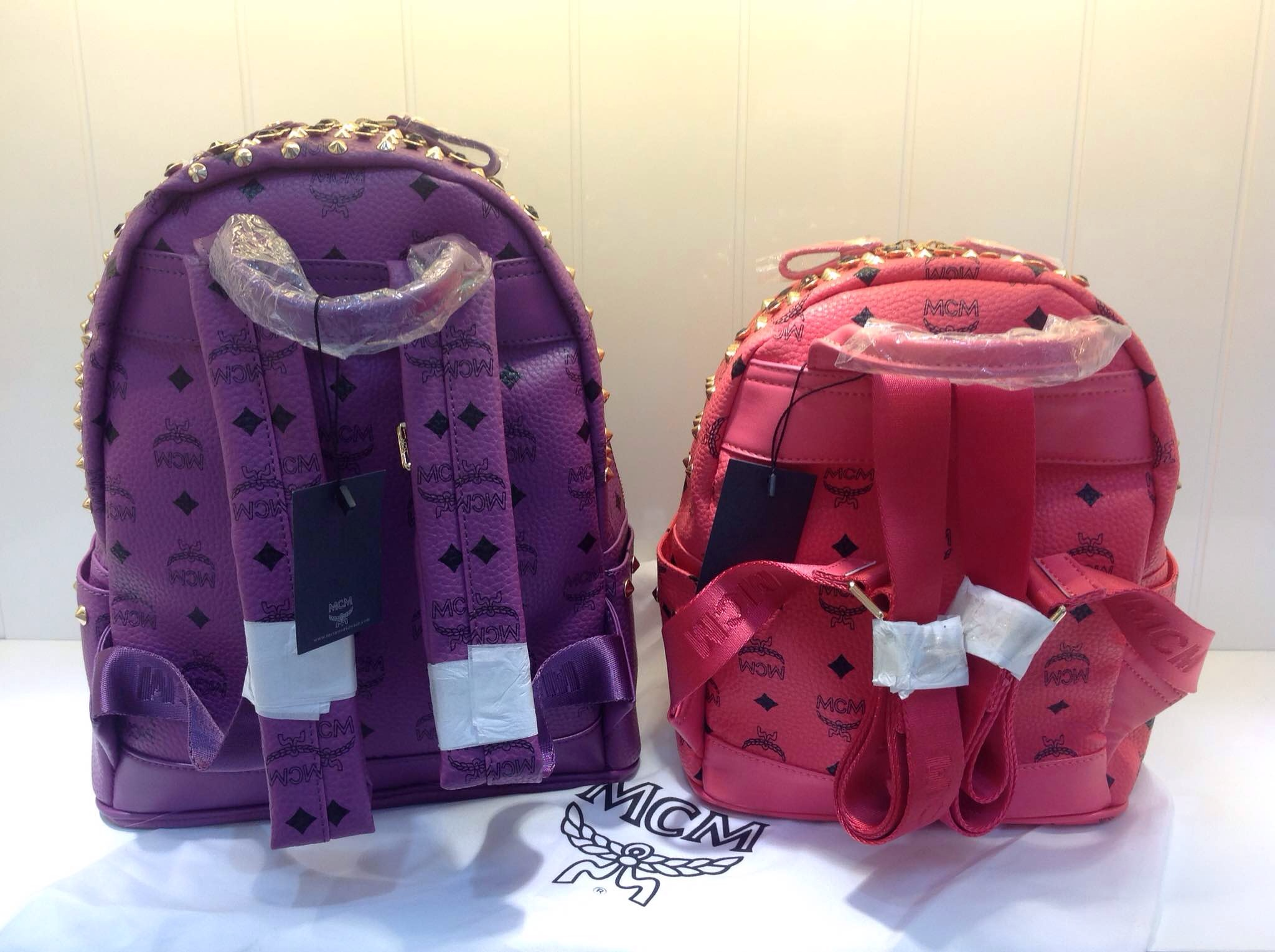2015MCM爆款满钻 双肩包 紫色大红