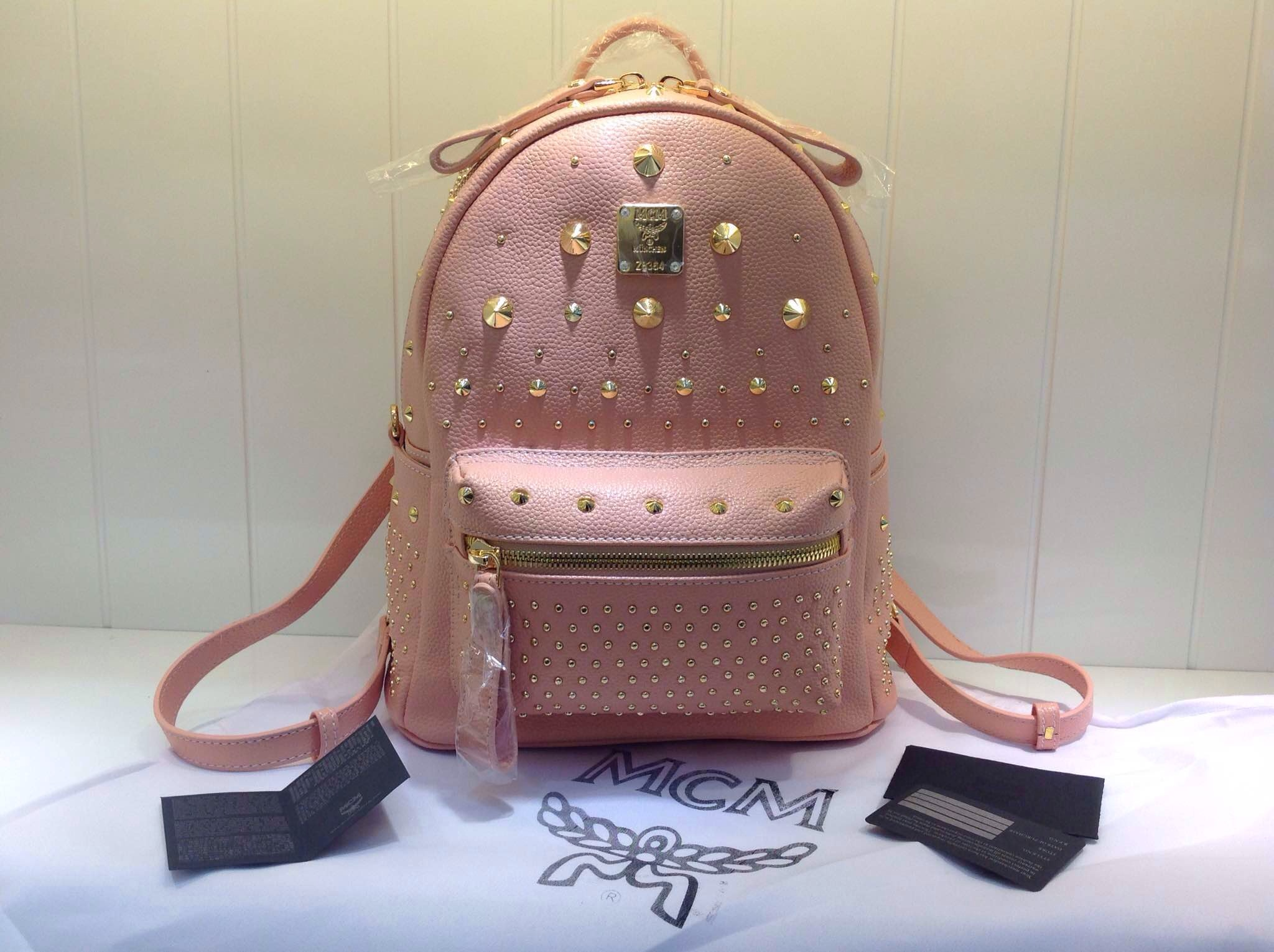 广州顶级货源 MCM双肩包斜挎包 少女粉色包包 高档包包批发