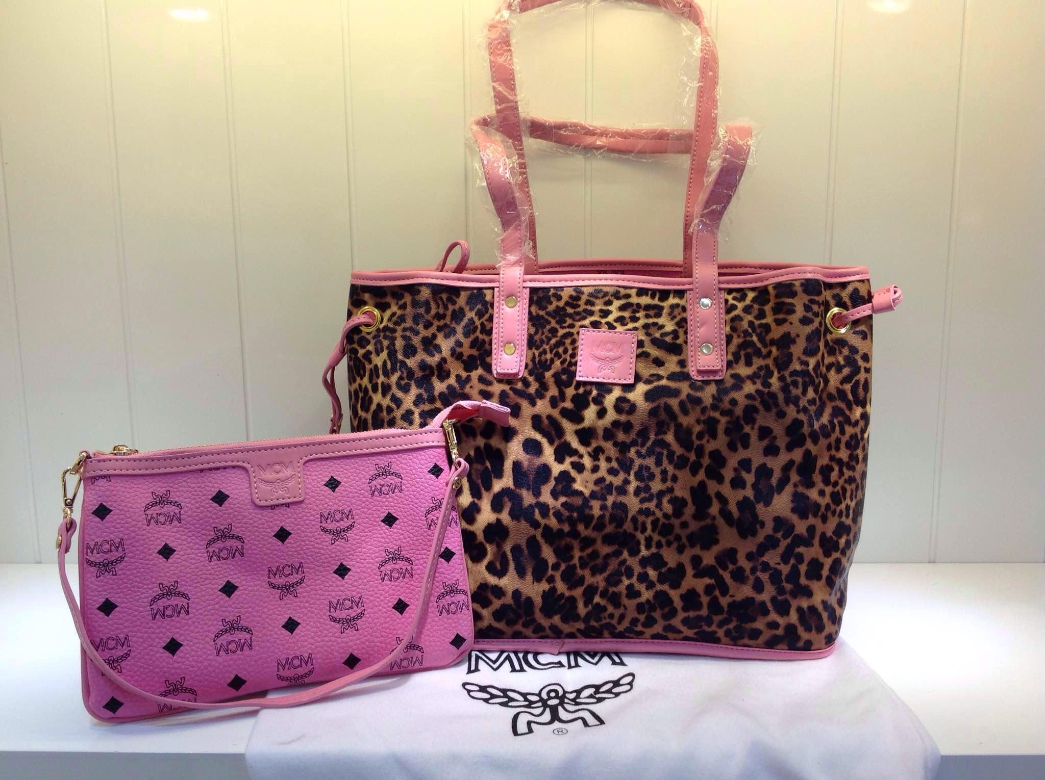 工厂价格 MCM粉色正反两用手提袋 子母购物袋 热销款