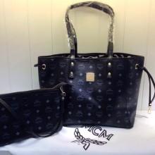 广州货源 MCM专柜新款 正反两用子母购物袋 黑色