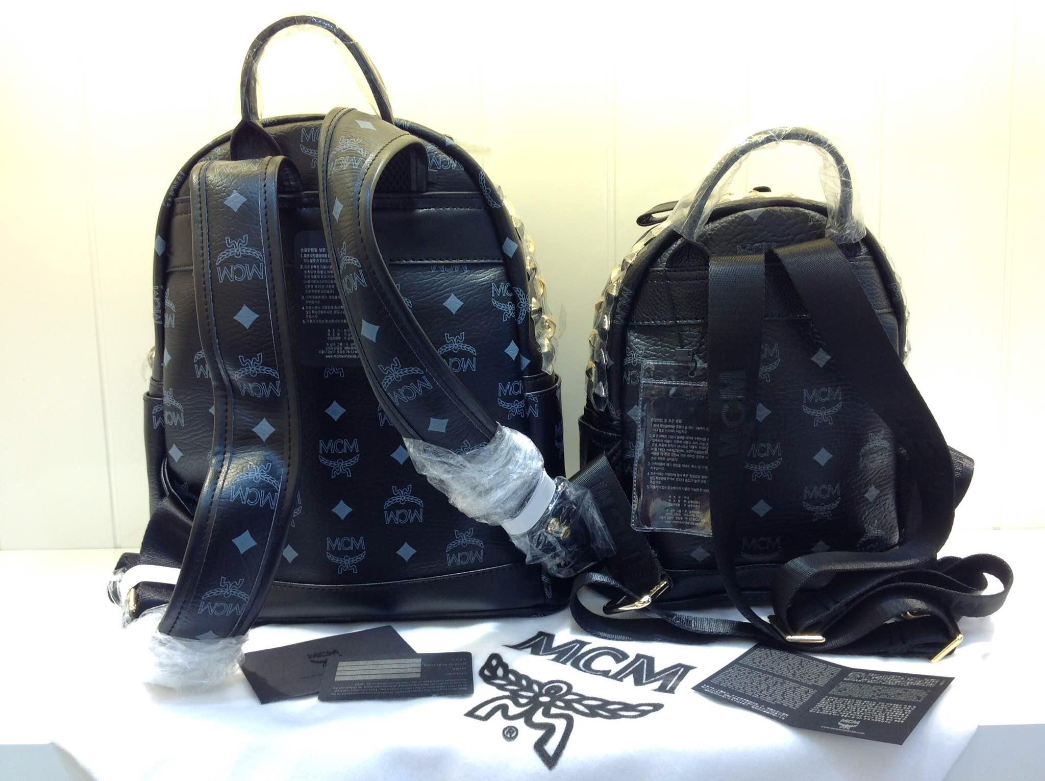 新款专柜雪花钉 MCM双肩包  原版皮 欧美风格