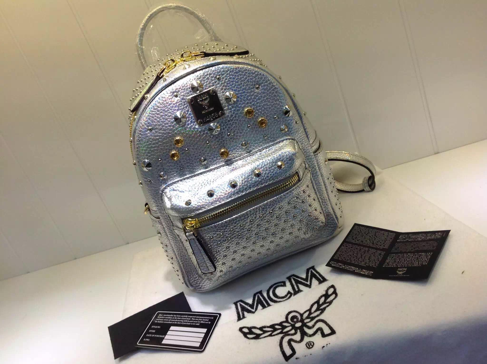 正品代购品质 MCM双肩包 邓紫棋新款 小号mini 金色银色