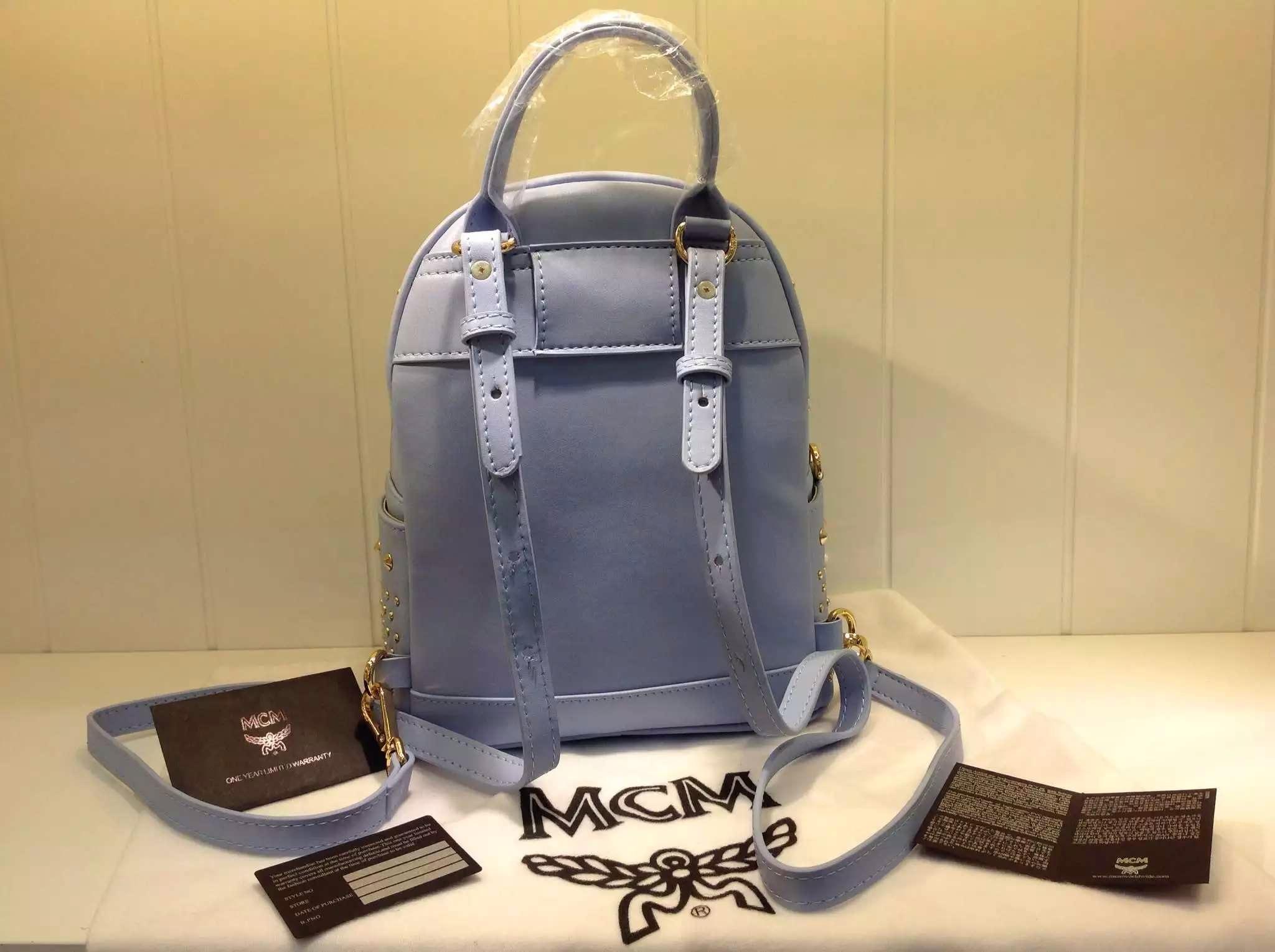 2015限量版 原单品质MCM双肩包 邓紫棋新款 小号mini 蓝色
