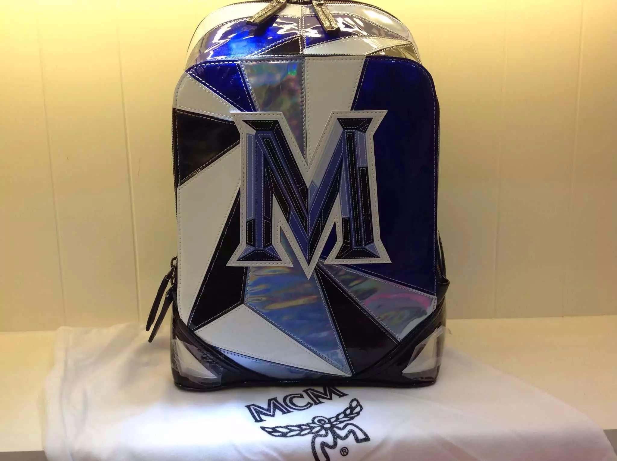2015新款出货 MCM双肩包 镭射包 个性拼接