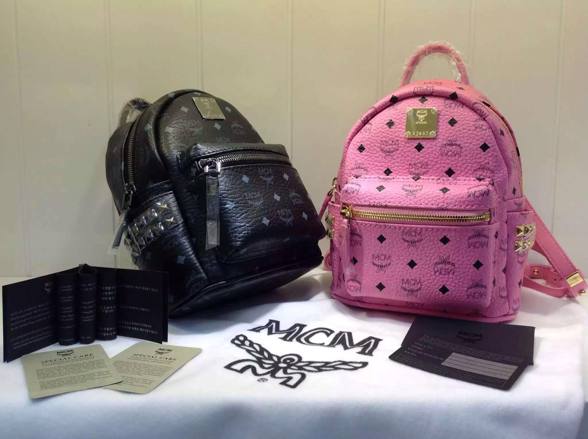 MCM专柜新款 经典侧钉款 黑色 粉色 超Mini