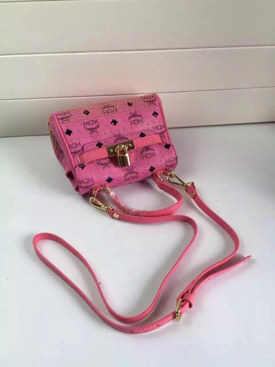 MCM原单mini Kelly包  纯手工包包批发 粉色系列女士包包