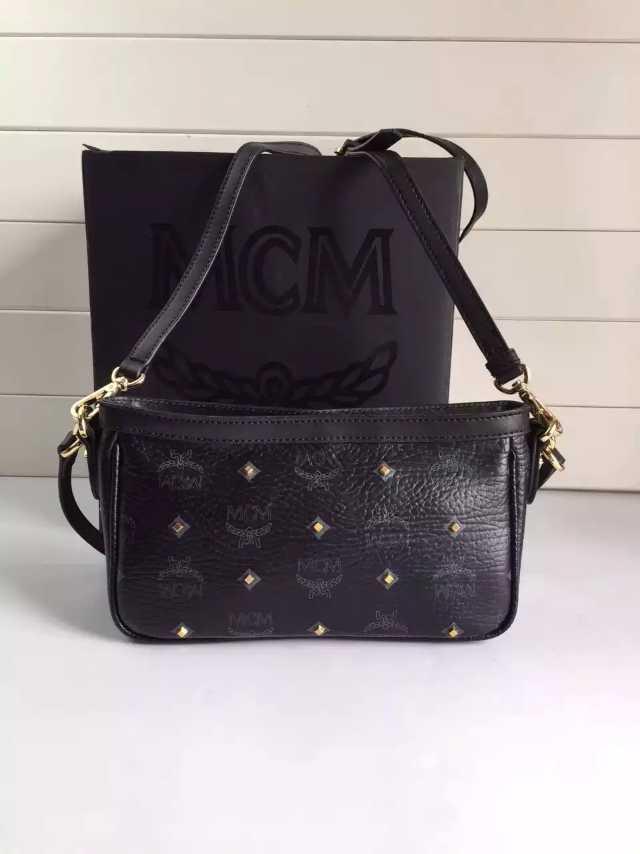 诚招代理 MCM专柜包包黑色 单肩斜挎女士包包 一件代发