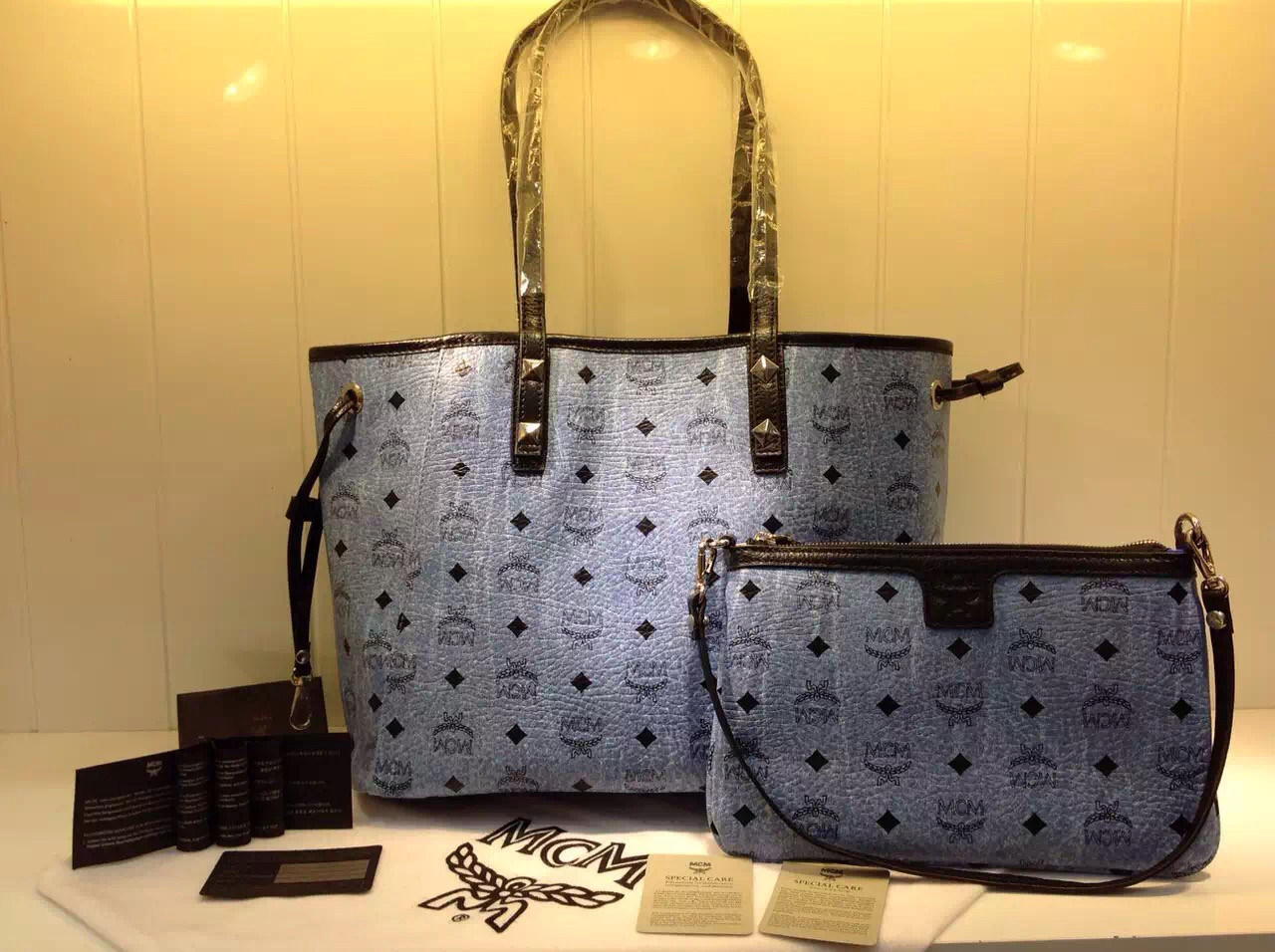 广州MCM 专柜款式推荐 子母购物袋 水洗蓝时尚包包 一件代发