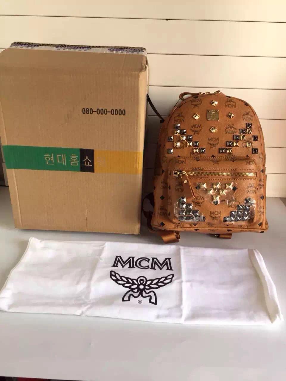 MCM原单官网 土黄小号背包双肩包 送全套包装 原单品质