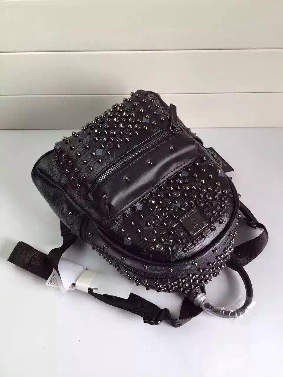 2015MCM新款 限量版双肩包 纯手工铆钉配水钻 专柜全包装 厂家批发