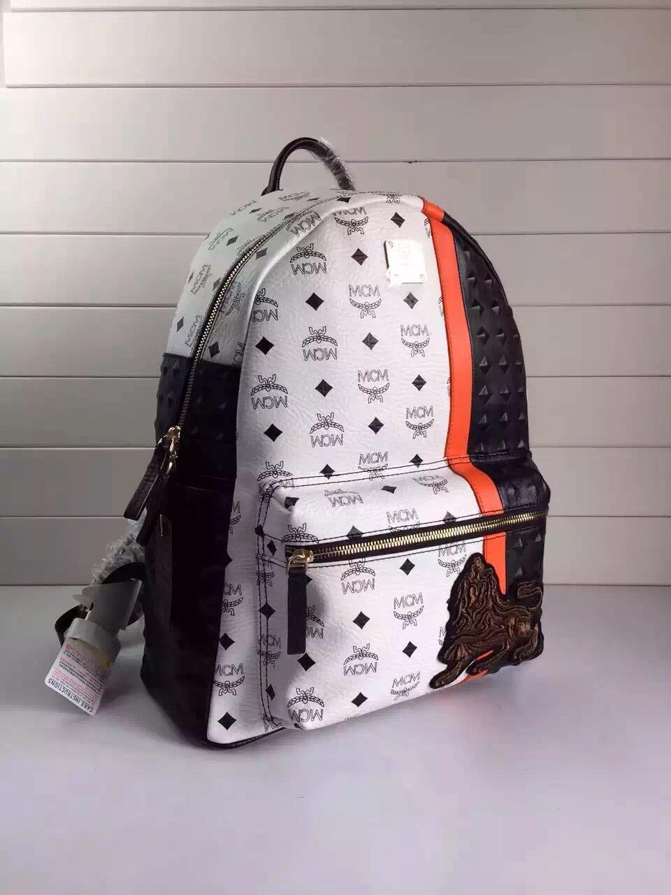 MCM原单 MUNICH LION时尚拼色双肩包 全套包装 白色
