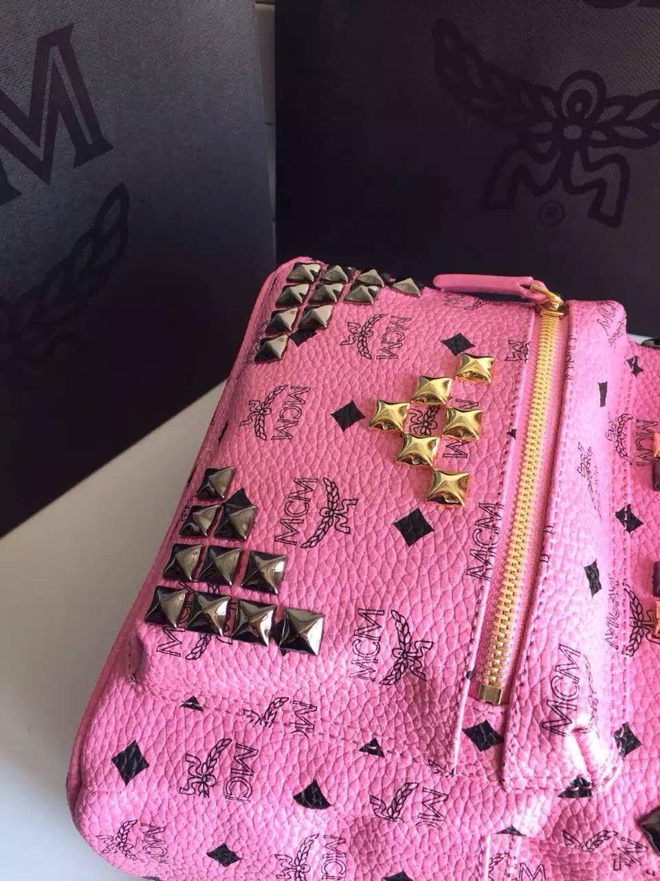 2015MCM经典小M钉 送全套包装 粉色双肩包小号背包 一件代发