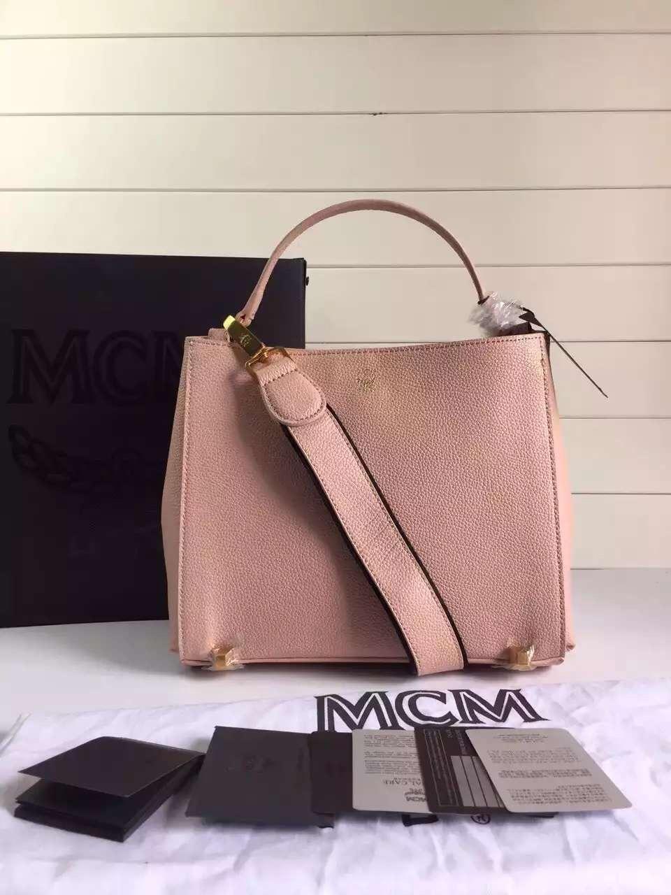 MCM原单特供 里布纯棉质地 韩国进口裸粉粒面牛皮 厂家直销