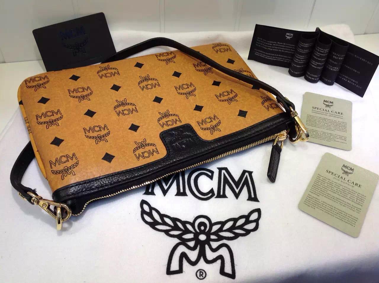 MCM专柜新款 方块正反两用子母购物袋 土黄 广州包包批发
