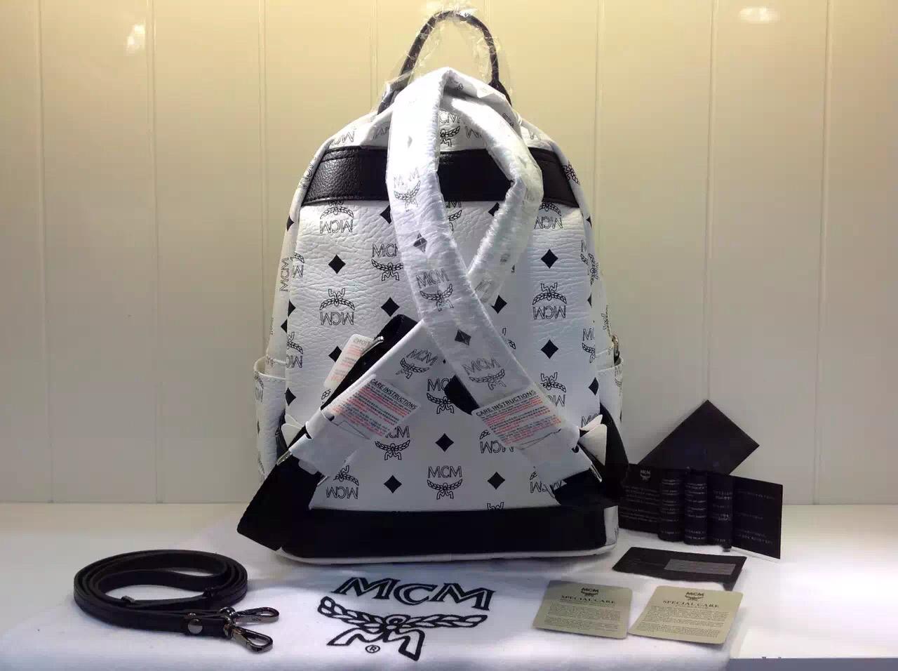 MCM官网 白色经典子母包 时尚女士双肩包 厂家直销