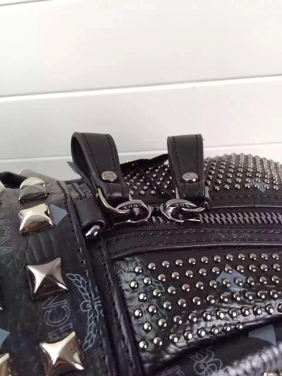 MCM原单田亮款 LG进口面料配牛皮 全套包装 黑色