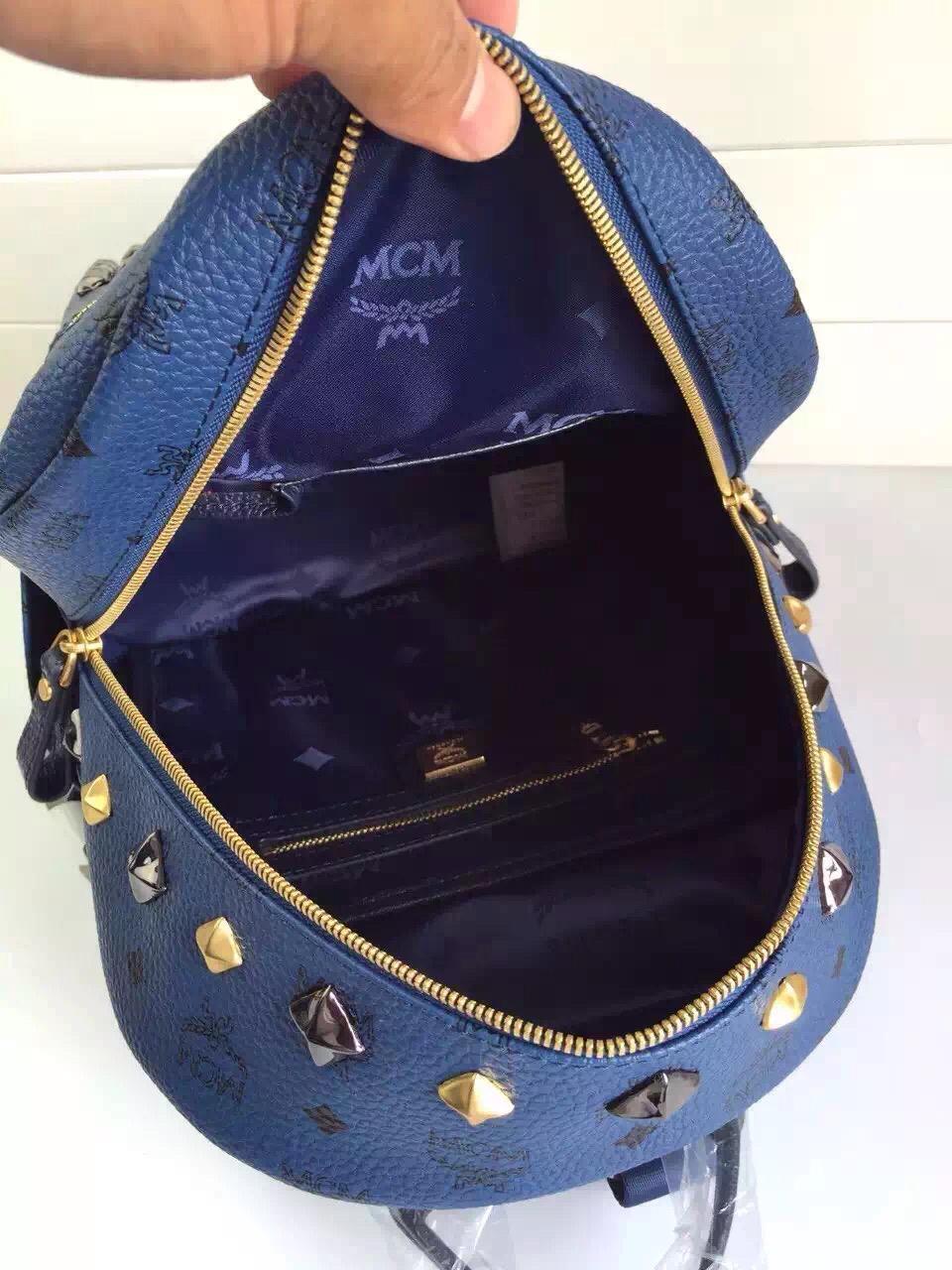 诚招代理 MCM原单经典小M钉 全套包装 宝蓝双肩包背包 经典时尚款式