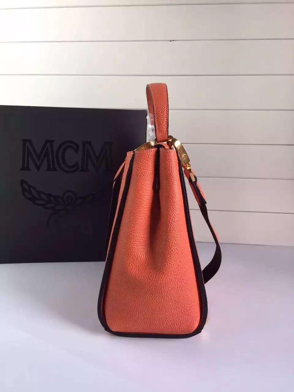 MCM原单 旗舰店特供 韩国进口粒面牛皮 里布纯棉质地 橙色