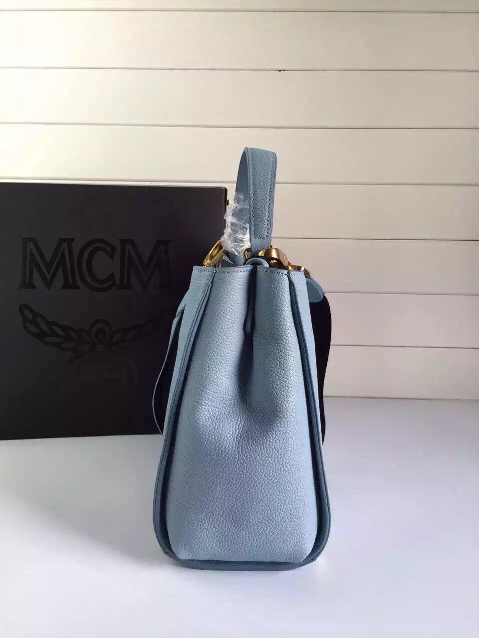 MCM韩国进口牛皮 浅蓝原单 旗舰店特供 里布纯棉质地