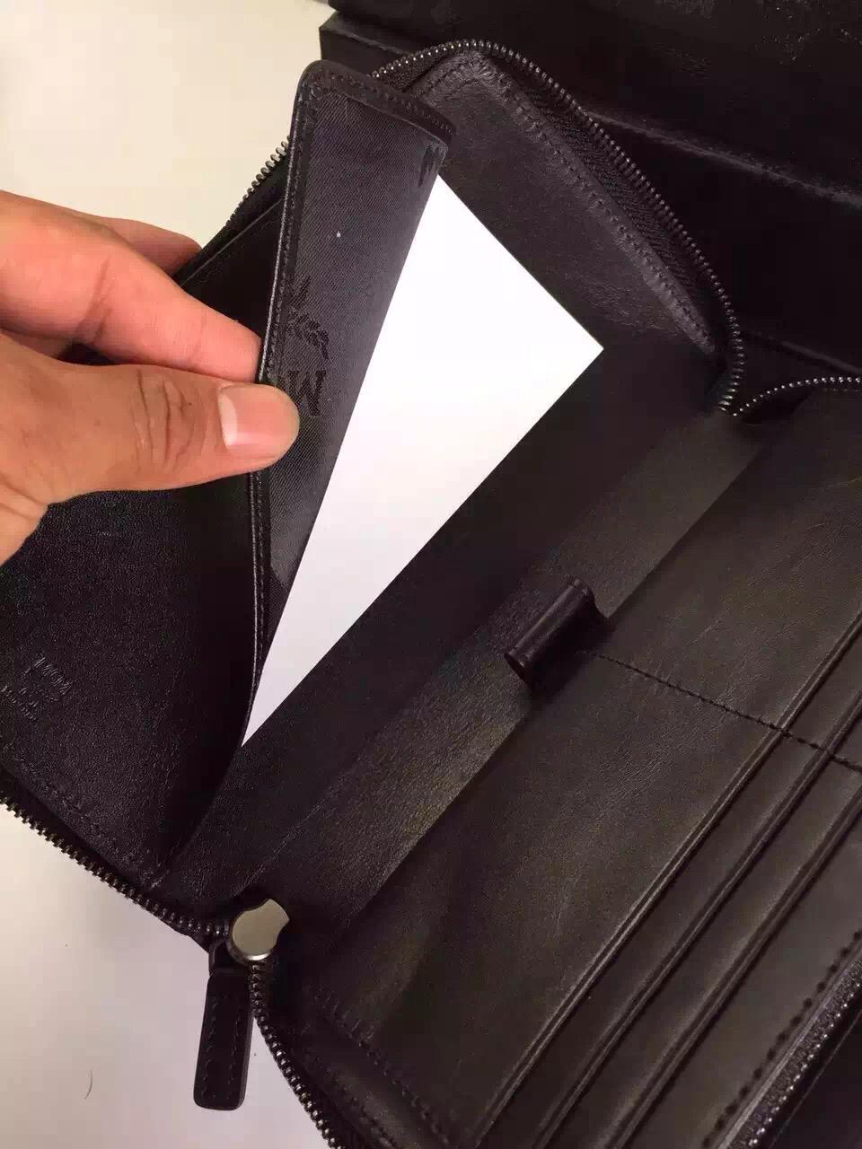 MCM原单 STARK铆钉长款拉链钱夹手包 土黄方块
