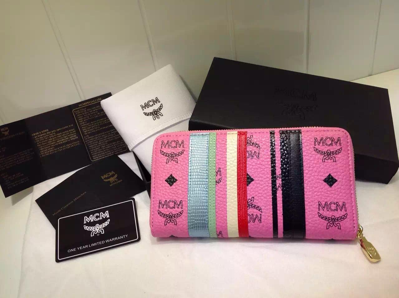 MCM原单 拉链钱包 进口PVC皮料 配蜥蜴皮与牛皮 粉色