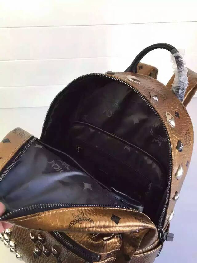厂家直销 MCM原单 全套包装小号双肩包 金色
