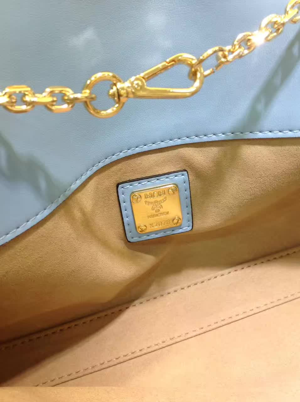 MCM官网同步 Visetos Patricia手袋 简约造型时尚优雅 雾霾蓝