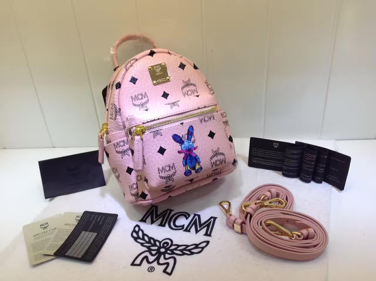 MCM韩国官网 超mini兔子背包 全新皮质纹理 内搭厚实耐用帆布 冰激凌粉