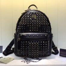 MCM包包批发 BIONIC系列背包 全新金属牌 耐用绒布内里 ykk拉链头配U型扣 黑色