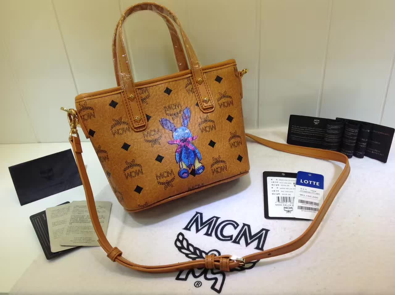 MCM包包批发 2017专柜新款 兔子购物袋造型mini斜挎包 土黄