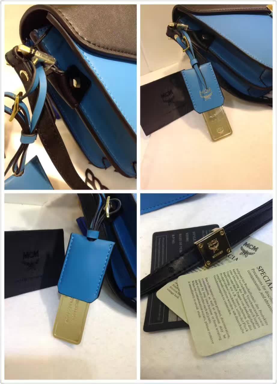 MCM官网 Patricia系列邮差包 外观简约时尚 翻绒内里 实用多隔层 天蓝
